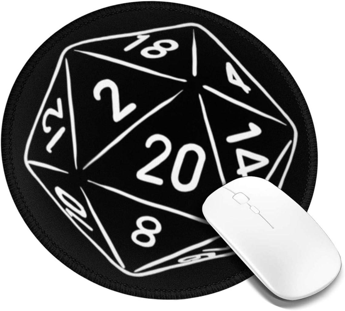 PEIGJH Redondo Alfombrilla Raton Gaming 20 Caras Mueren o Jugador de RPG con Base de Goma Antideslizante para Gamers, PC y Portátil