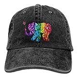 Colorful Happy Elephant Casual Denim Baseball Cap Peaked Cap Hat Adjustable Sport Trucker Cap For Men Women Unisex