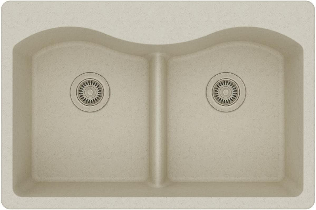 Elkay Quartz Classic ELGLB3322BQ0 Bisque Equal Double Bowl Top Mount Sink with Aqua Divide
