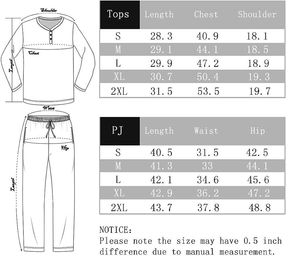 Plaid Pajamas for Men Long Sleeve Sleepwear Warm Pjs Set with Pockets U2SKIIN Mens Pajama Set