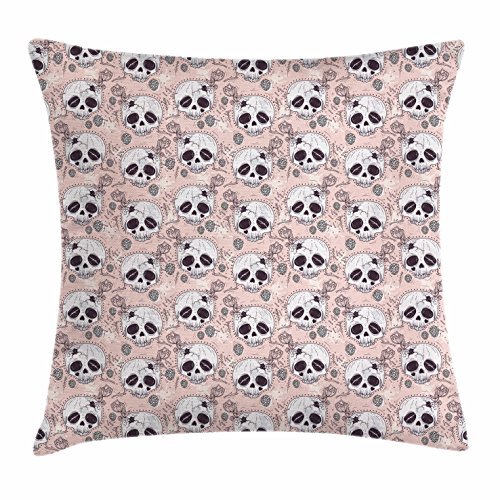Ambesonne Skull Throw Pillow Cushion Cover, Halloween Traditional Mexican Sugar Day of The Dead Roses Horror Folk Pattern, Decorative Square Accent Pillow Case, 28 X 28 Inches, Blush White Onyx