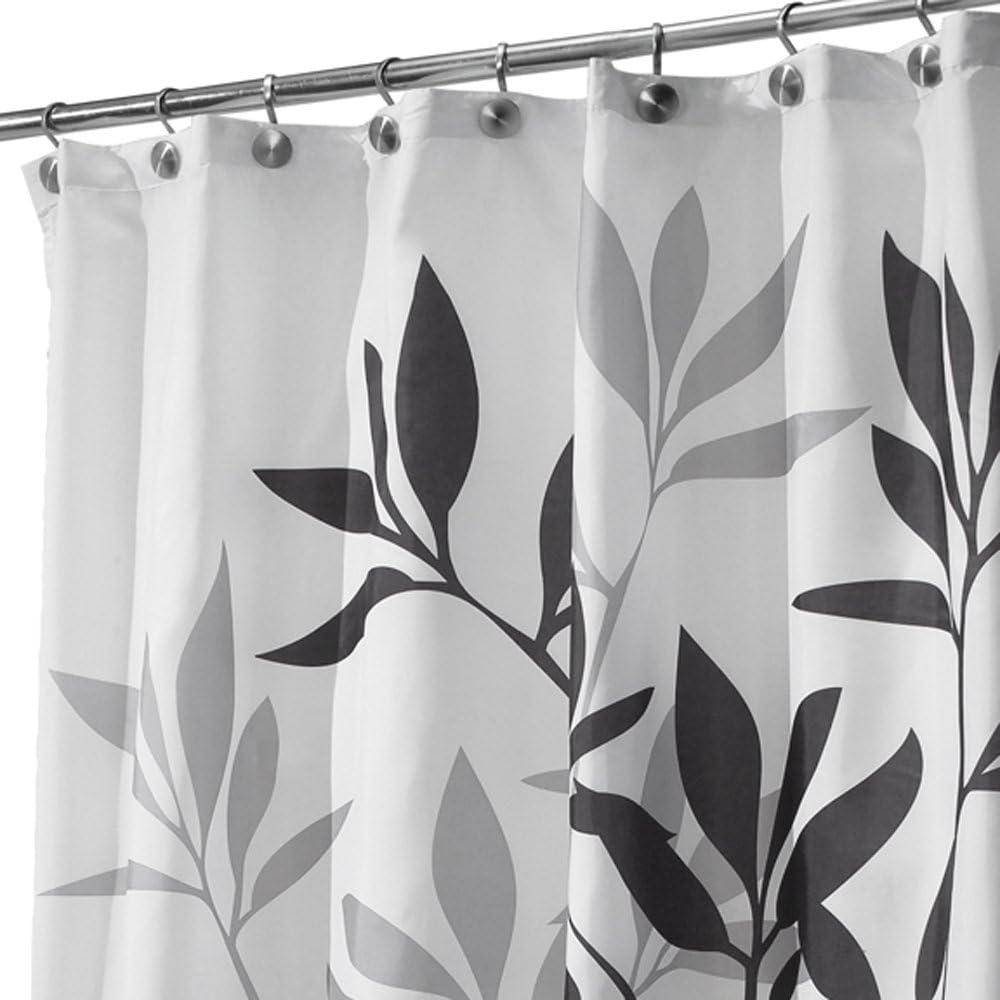 InterDesign Leaves Cortina de ducha   Cortina de baño de diseño de tamaño estándar, 180,0 cm x 200,0 cm   Elegantes cortinas estampadas con dibujo de hojas   Poliéster negro/gris