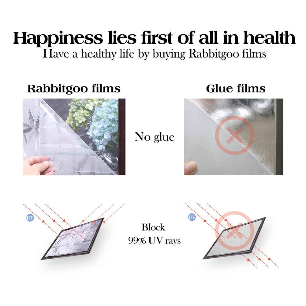 RABBITGOO 3D Privacy Window Film No Glue Static Window Cling Glass Film Bamboo Frosted Window Films Privacy Static Cling Vinyl Decorative Glass Film 23.6in. by 78.7in. (60cm x 200cm) by RABBITGOO (Image #6)