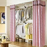 Adjustable Clothes Racks, Asunflower 2-Tier Steel Pipe Garment Closet Free Standing Portable Wardrobe - Ivory Clothing Rack + Purple Curtain