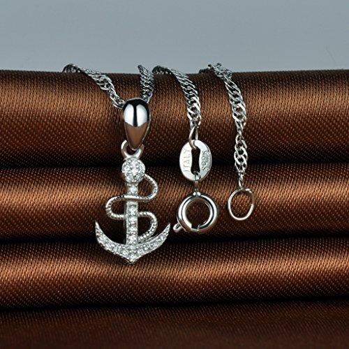 Infinite U Collier pendentif l'ancre du pirate collier en argent pur 925 orné zircon cubique élégant et aimable cadeau pour femme fille jeunesse