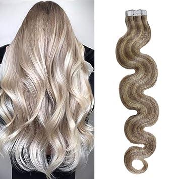 44f164c8242 Amazon.com : Moresoo 14 Inch Body Wave Tape Ins Hair Brazilian Tape ...