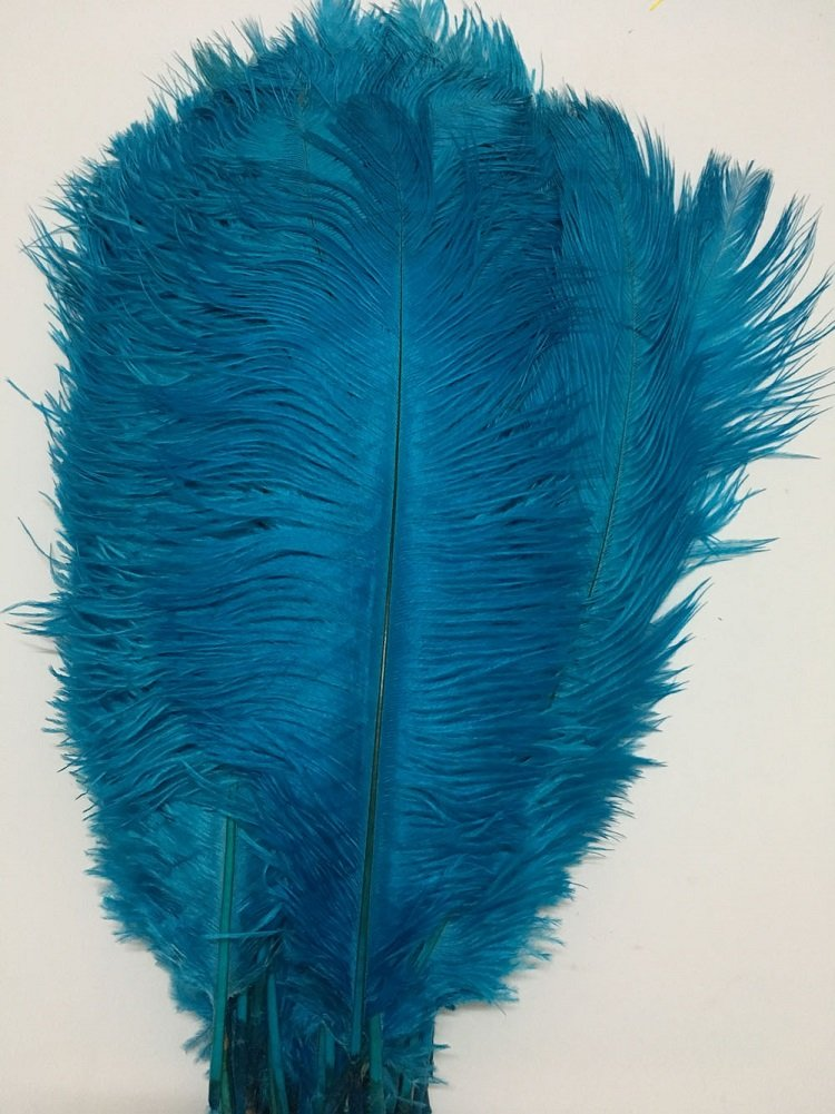 ADAMAI 50PCS Natural 27.5-29.5inch Ostrich Feathers Plume for Wedding Centerpieces Home Decoration (shy-blue)