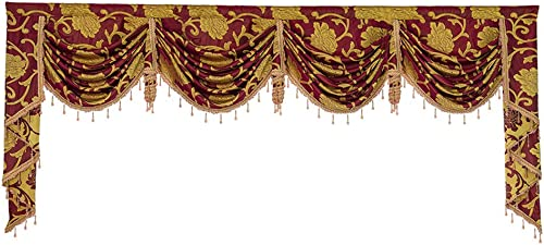 Customized European Golden Jacquard Swag Waterfall Curtain Valance