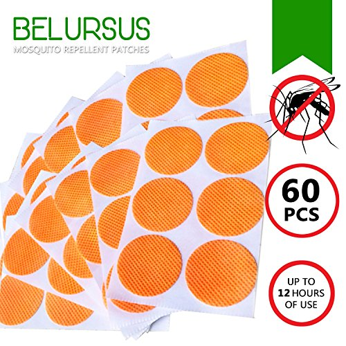 Belursus Mosquito Repellent Patch/3cm Resealable 60 Units/Premium Japan Natural Essential Plant oils/100% Natural Mosquito Repellent/24-Hour Protection/Simply Apply to Skin and Clothes
