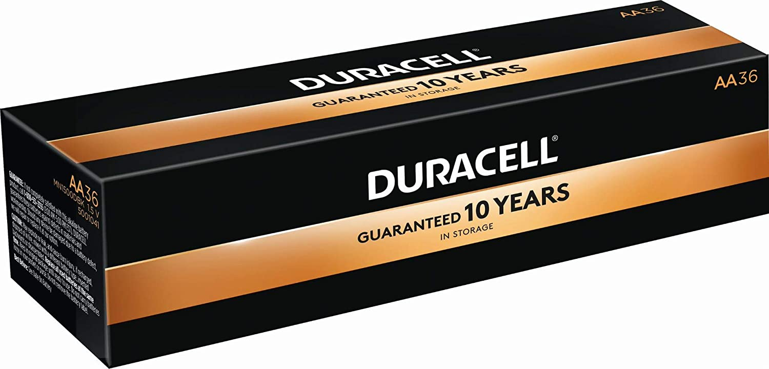 Duracell MN15P36 Standard Battery, AA, Alkaline, PK36 Lighting, Pack of 36, Black, 36 Count