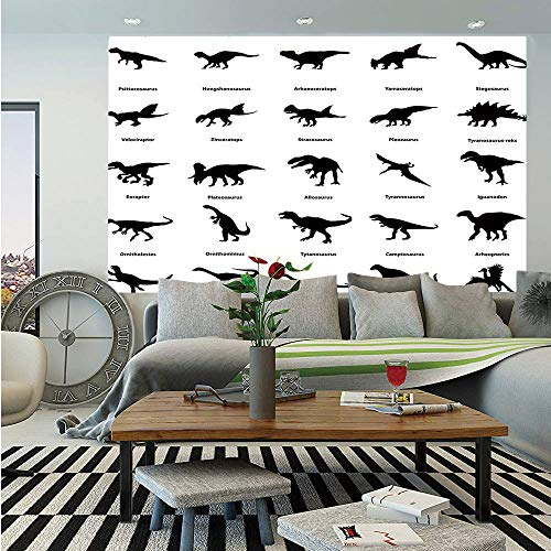 SoSung Dinosaur Huge Photo Wall Mural,Collection of Different Dinosaurs Silhouettes with Their Names Evolution Wildlife,Self-Adhesive Large Wallpaper for Home Decor 108x152 inches,Black White]()