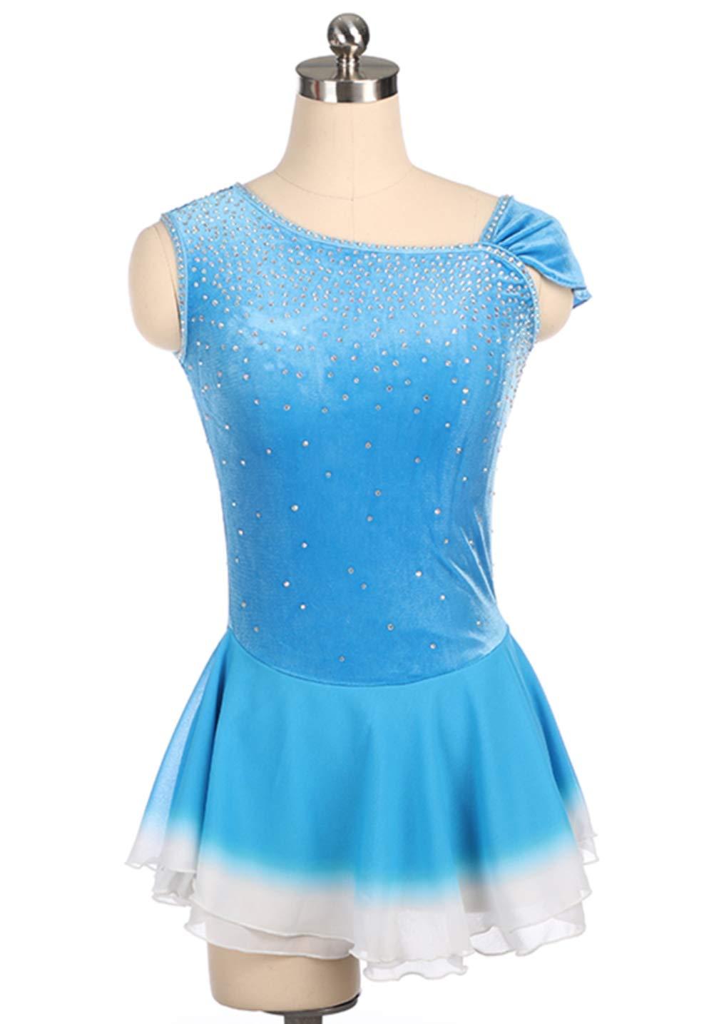Terciopelo Vestido de Patinaje artístico para niñas, Traje ...