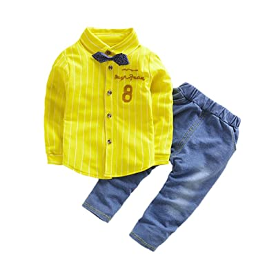 9e9f343c9 Fineser TM 2Pcs Infant Toddler Baby Boys Letter Print T-Shirt +Denim Long  Pants