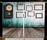 Thermal Insulated Blackout Window Curtain,Clock Decor,A Vintage Clock and Empty Picture Frames in an Old Room Wooden Backdrop,Green and Brown,Living Room Bedroom Kitchen Cafe Window Drapes 2 Panel Set