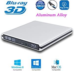 "USB 3.0 External 6X Blu-Ray Burner 3-D Blue-ray Portable Player Optical Drive for HP Envy X360 X 360 13 15 15t 13t 13 t 17t 17 M6 2-in-1 Convertible 15.6"" Touch Screen Laptop, BD-RE DVD-R DL Writer"