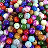 Beading Station 50-Piece Mix Artistic Marble Design Lampwork Glass Round Beads