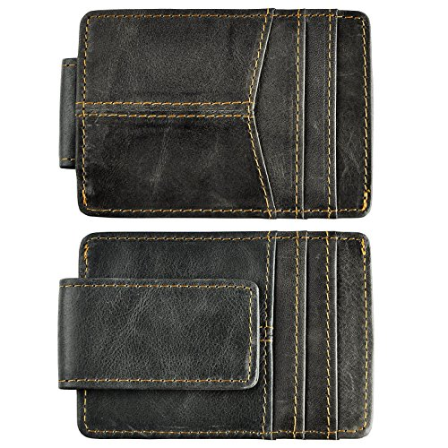 (Le'aokuu Mens Genuine Leather Cowhide Clip Credit Card Case Handy Slim Wallet Magnet (Grey))