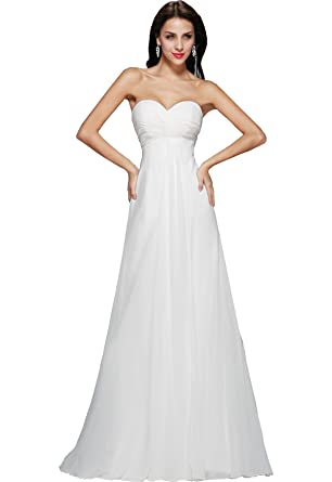 Amore Bridal White/Ivory Chiffon Ruched Bust Simple Wedding Dresses ...