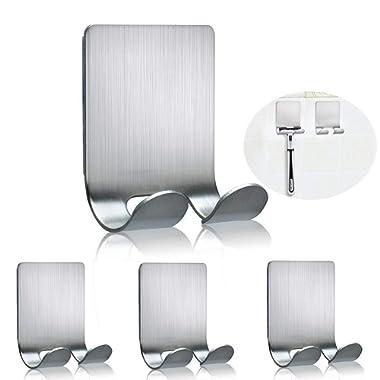 FOTYRIG Razor Holder for Shower Multi Purpose Adhesive Hooks Sticky Wall Hanger Stainless Steel Hooks for Hanging Shaving Razor, Plug, Keys, Kitchen Utensils, Towel, Robe, Loofah and More-4 Packs