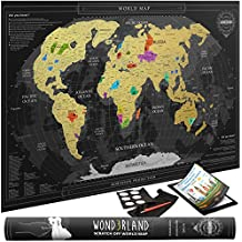 Travel Scratch Off Map of the World with outlined US States | Gold Personalized Wall Map Poster | Deluxe Gift for Travelers | BONUS Adhesive Stickers + Scratching Tool + Wiping Cloth + Traveling eBook