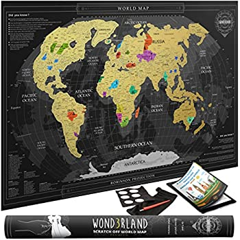 Amazon scratch map travel map travel size scratch off map travel scratch off map of the world with outlined us states gold personalized wall map poster deluxe gift for travelers bonus adhesive stickers gumiabroncs Choice Image