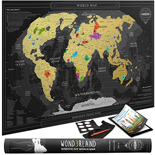 Travel Scratch Off Map of the World with outlined US States | Gold Personalized Wall Map Poster | Deluxe Gift for Travelers | BONUS Adhesive Stickers + Scratching Tool + Wiping Cloth + Traveling eBook (Large Usa Sticker)