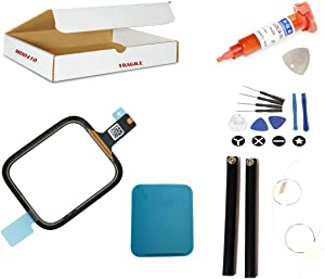 Screen Repair Kit Compatible for Apple Watch Series 4 (40mm) Model A1975 A1977 A2007 - Front Glass Lens with Touch Digitizer Flex Cable Replacement