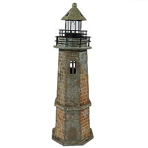 Sunnydaze Solar LED Garden Lighthouse Statue, Outdoor Yard Decoration, 35 Inch Tall, Brick