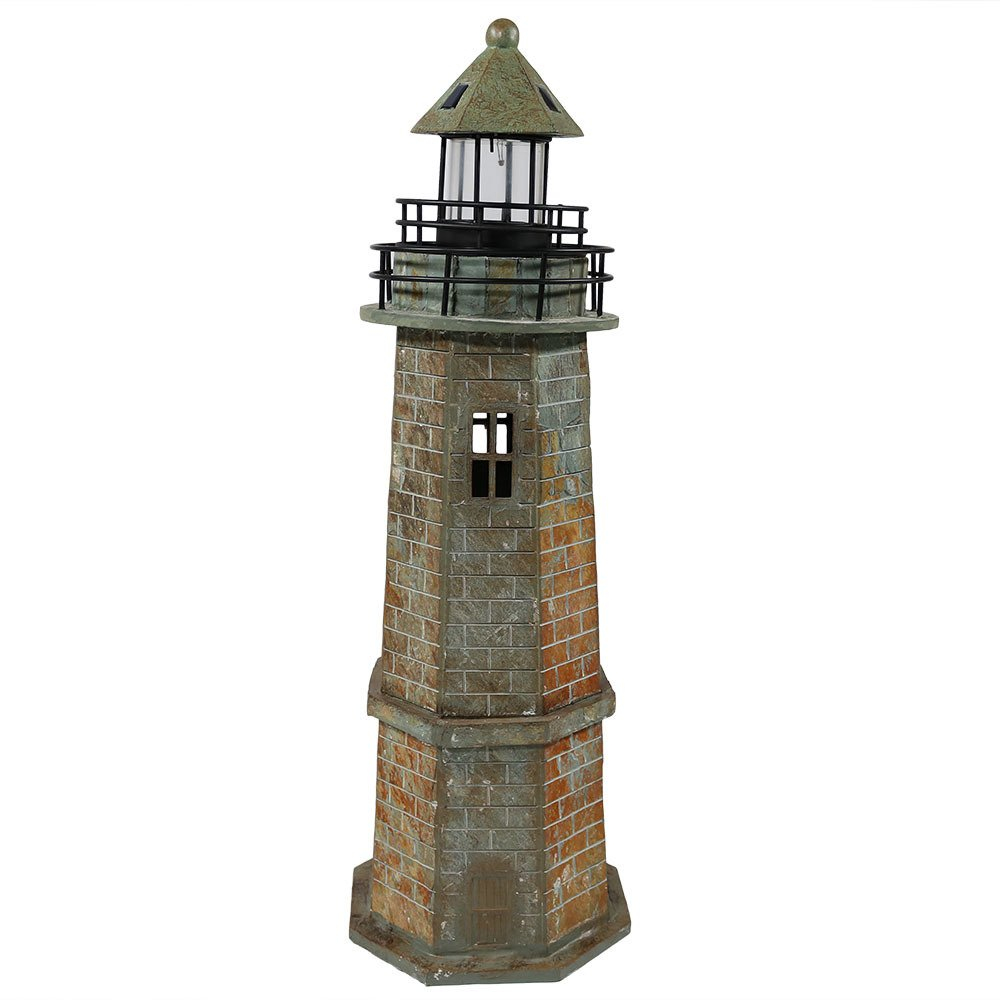 Sunnydaze Solar LED Garden Lighthouse Statue, Outdoor Yard Decoration, 35 Inch Tall, Brick