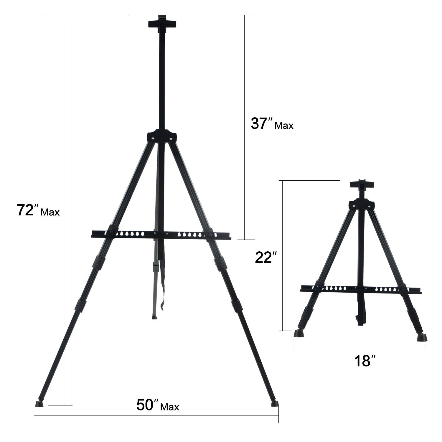"""Black Drawing and Display with Bag Extra Sturdy for Table-Top//Floor Painting Aluminum Metal Tripod Art Easel Adjustable Height from 22-72/"""" T-SIGN 72 Tall Display Easel Stand"""