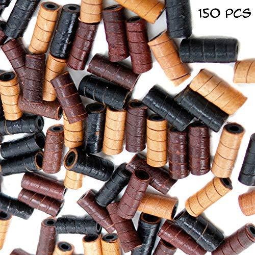 (150 PCs Leather Tube Beads for Jewelry Making for Adults - Black, Brown, Natural - Free Tiger Tooth Bone Pendant Necklace - Great Bead DIY Kit for African, Native American, Tribal Design)