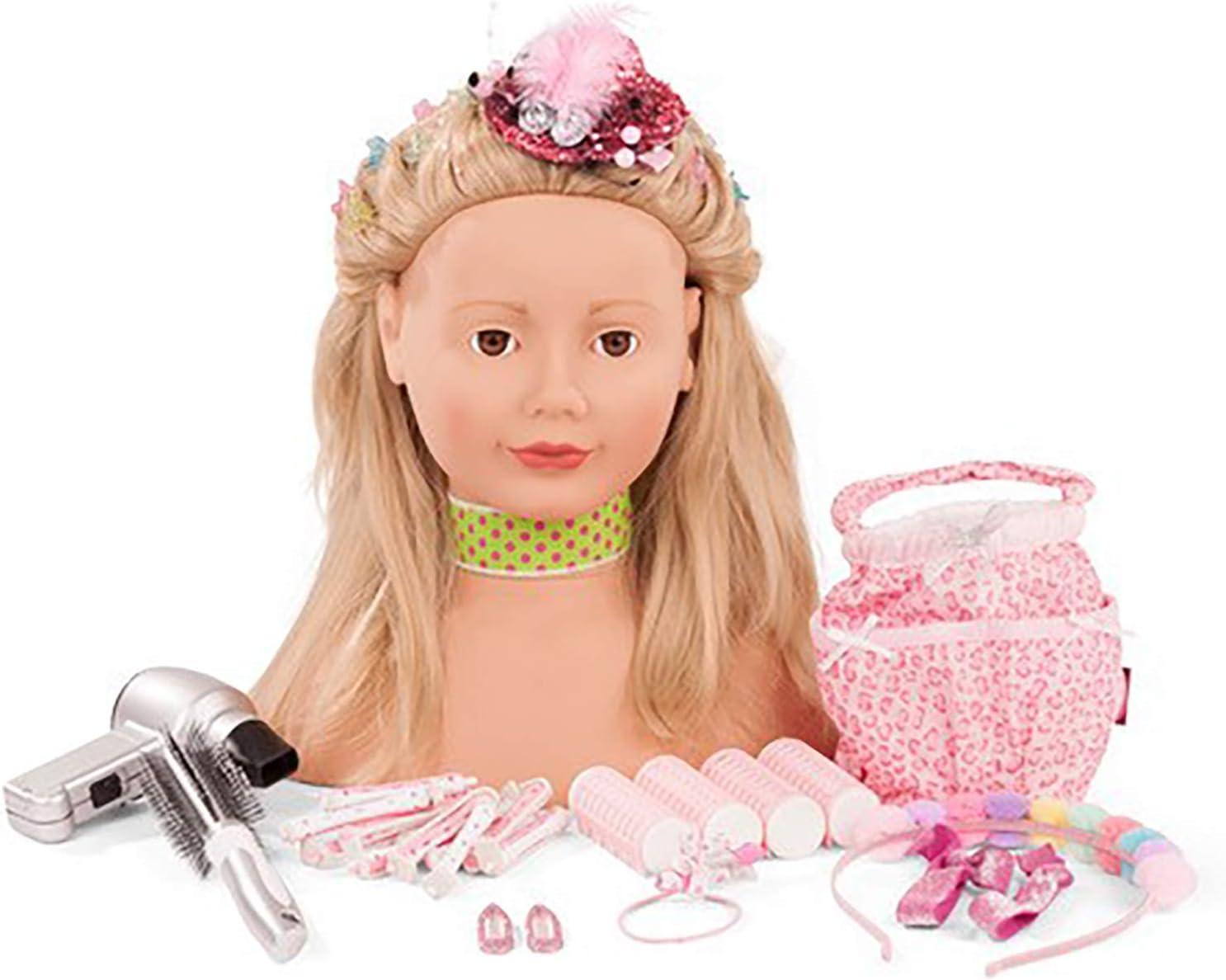 Gotz 1792055 Peluquín Lollipop con Pelo Rubio y Ojos Marrones - 28 cm Alta Cabezal de Maquillaje / Cabezal de Vestir - Juego de 50 Piezas - Adecuado para niñas a Partir de 3 años