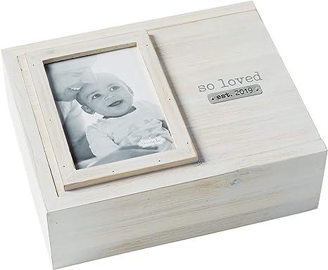 Mud Pie - Caja de recuerdos para bebé, diseño de tarta de barro, color blanco y gris: Amazon.es: Bebé