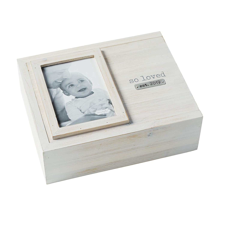 White//Grey So Loved Mud Pie Decorative Photo Keepsake Nursery Box