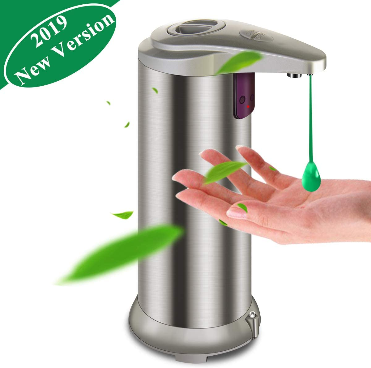 Litthing Distributeur Automatique de Savon sans Contact Acier Inoxydable Distributeur de Liquide Capteur Infrarouge pour Salle de Bain ou Cuisine (Champagne)