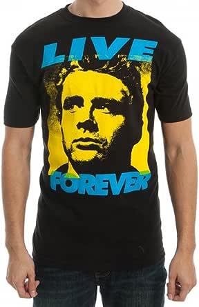 James Dean Mens Black Live Forever T-Shirt
