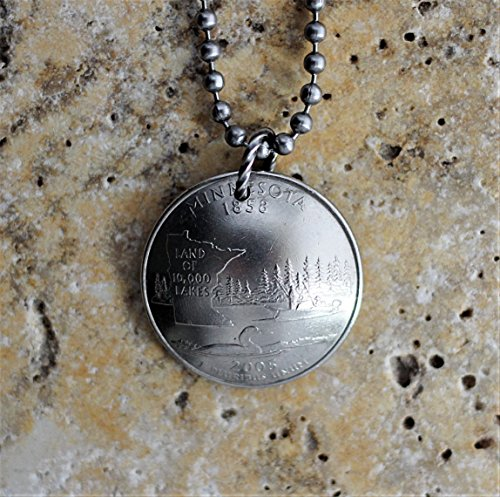 Minnesota State Quarter Commemorative Coin Necklace Domed Pendant 2005