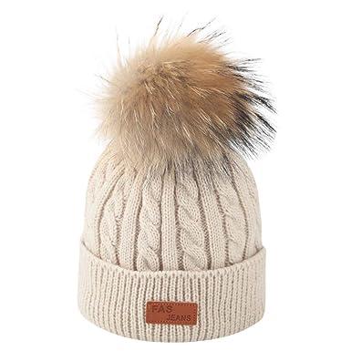 achat original mignonne qualité DAY8 Bonnet Bébé Fille Hiver Pompom Enfants Garçon Chapeaux Tricotés Bonnet  Bébé Fille Unisexe Garçon 2-8 Ans Automne Hat