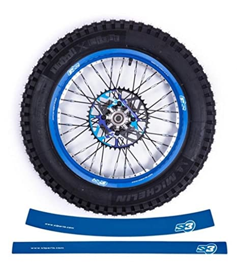 Pegatinas de llanta S3 azul para los 2 llantas de moto todoterreno de-900-