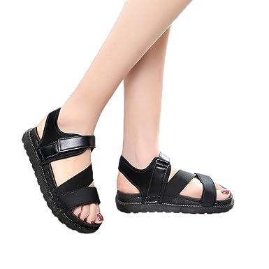 48193002dbf645 DENER Women Girls Ladies Summer Flat Platform Med Heel Thick Bottom Anti  Skidding Cross Strap Bandage