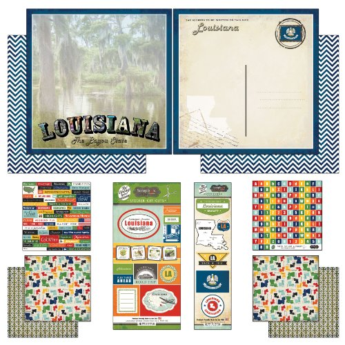 (Scrapbook Customs Themed Paper and Stickers Scrapbook Kit, Louisiana)