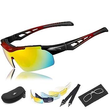 b63722f6d1 Gafas Ciclismo, HiHiLL Gafas de Sol Deportivas Polarizadas, 5 Lentes  Intercambiables, Protección UV400, 2018 Nuevo Diseño, Rojo: Amazon.es:  Deportes y aire ...