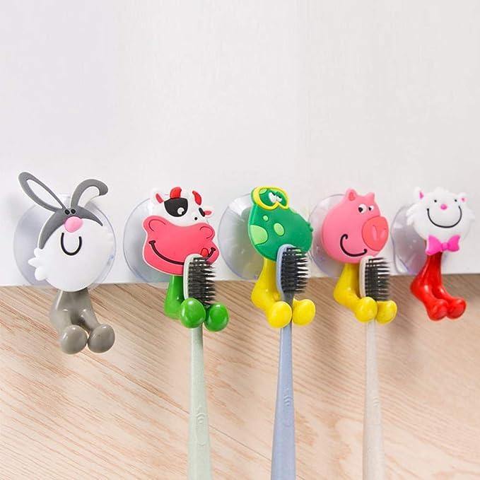 Dibujos Animados Animales Cepillo de dientes titular de montaje en pared LECHÓN VENTOSA Conjunto de Baño Niños