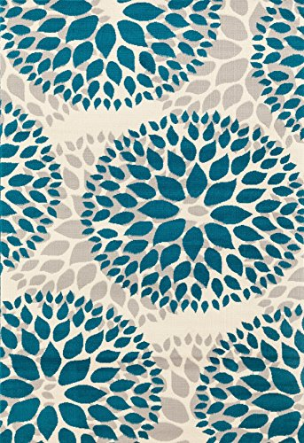 Modern Floral Circles Design Area Rugs 7'6