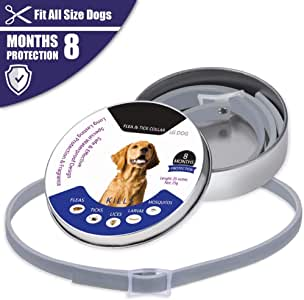 "Flea and Tick Collar for Dogs,8 Months Effectiveness Protection with Natural Formula for Dogs and Puppies, Waterproof Fully Adjustable 25"" Length Fits for Small Medium Large Pets"