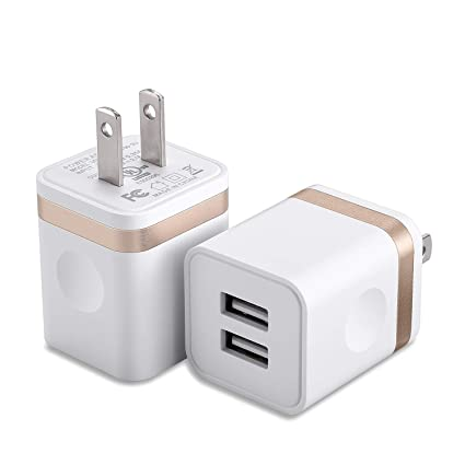 USB Charger, Wall Charger Power-7 2-Pack 2.1Amp Dual Port USB Wall Charger Power Plug Adapter Charging Block Compatible with Phone Xs Max Xs XR X 8 7 ...
