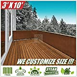 ColourTree 3′ x 10′ Brown Balcony Railing Shade Fabric Deck Fence Privacy Screen Tarp Plant Greenhouse Netting Mesh Cloth – Commercial Grade 170 GSM Heavy Duty 3 Years Warranty CUSTOM SIZE AVAILABLE For Sale
