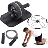 EnterSports Ab Roller Wheel, 4 in 1 Ab Roller Kit with Knee Pad, Multifunctional Resistance Band, Jump Rope, Perfect…