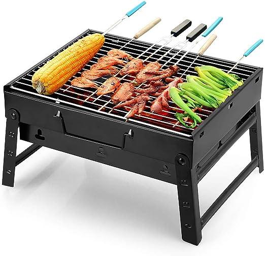 BBQ-- Barbacoa Plegable Barbacoa Portátil de Carbón Asador Parrilla Aire Libre Jardín Exterior ,70 * 20 * 37cm,Negro: Amazon.es: Hogar
