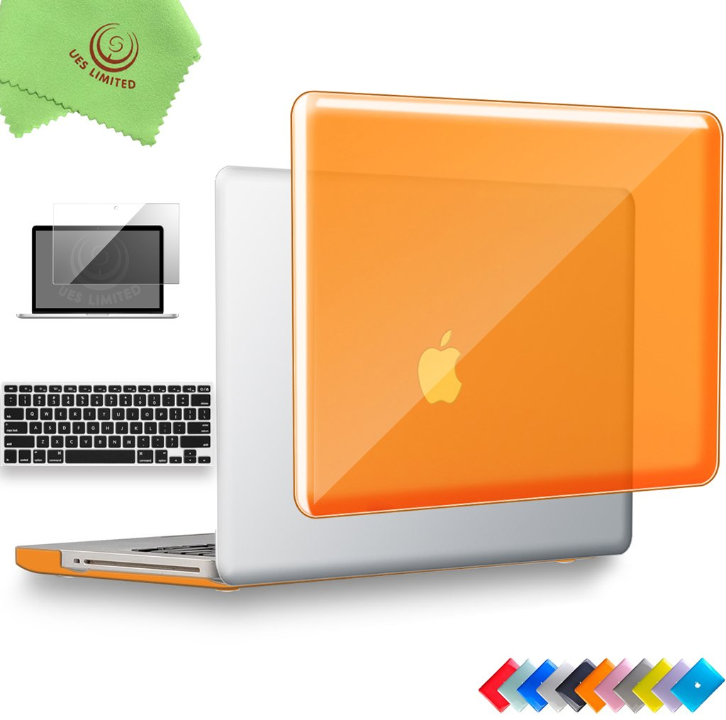 UESWILL 3in1 Glossy Crystal Clear See Through Hard Shell Case Cover for MacBook Pro 13'' with CD-ROM (Non-Retina)(Model:A1278) + Keyboard Cover and Screen Protector + Microfibre Cleaning Cloth, Orange